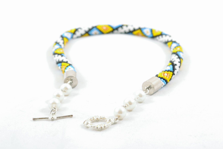 Bright beaded cord necklace Carpathian photo 1