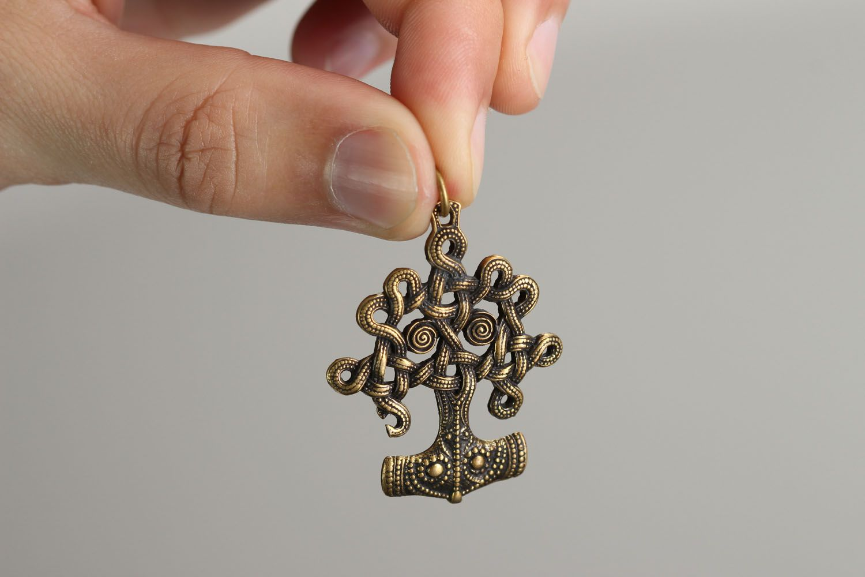 Unusual bronze pendant Iggdrasil photo 4
