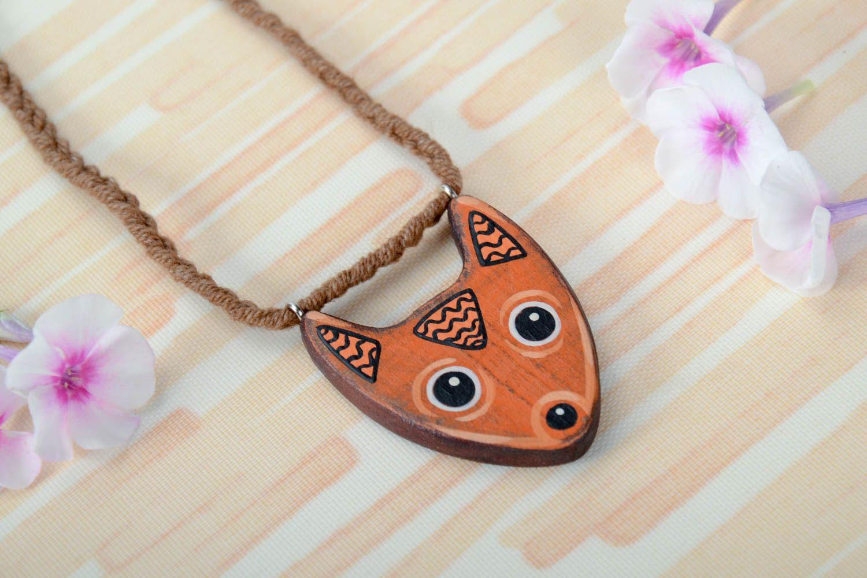 Handmade pendant wooden jewelry unusual accessory gift ideas designer bijouterie photo 1