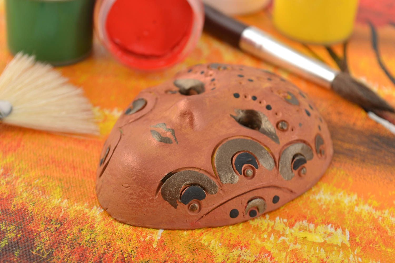 Beautiful handmade painted ceramic fridge magnet souvenir carnival mask photo 1