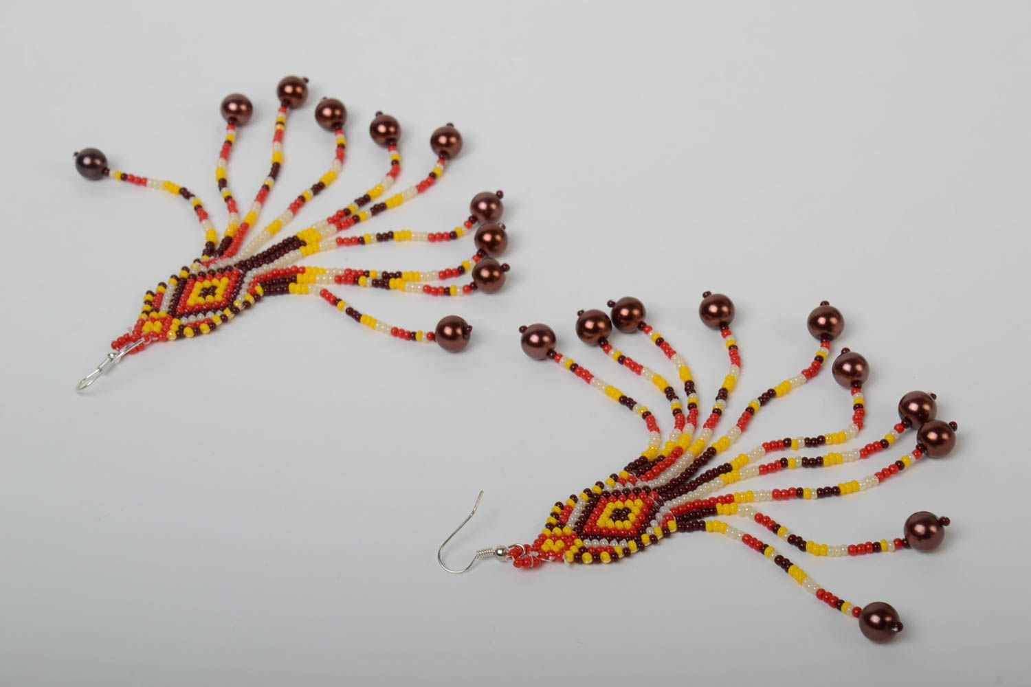 Handmade massive designer long earrings with beaded fringe in ethnic style with hook type ear wires photo 5