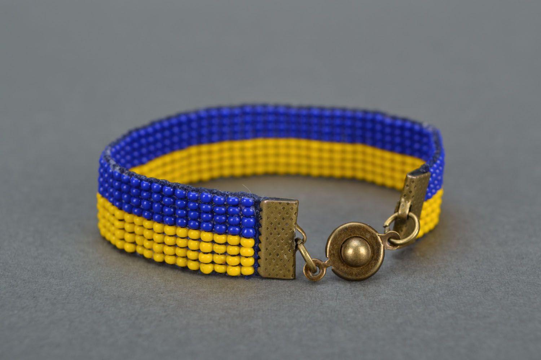 Yellow-blue bead bracelet photo 5