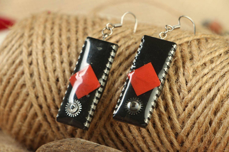 Long metal earrings with microcircuits photo 4