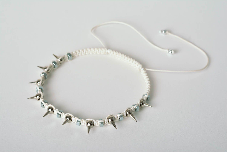 Spike necklace handmade necklace macrame necklace handmade thread jewelry  photo 1