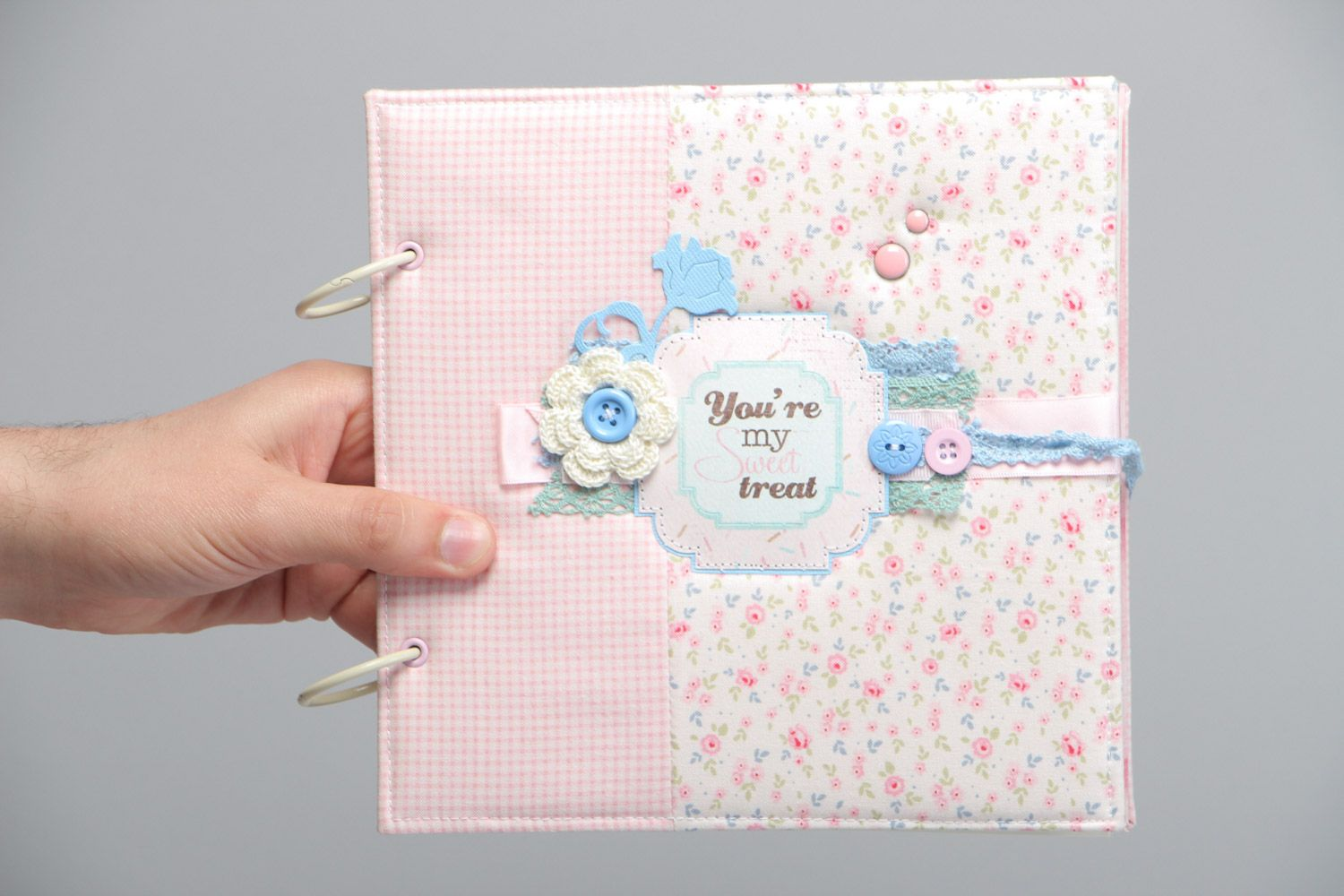 Handmade designer scrapbooking photo album for 25 pages in pink colors photo 5