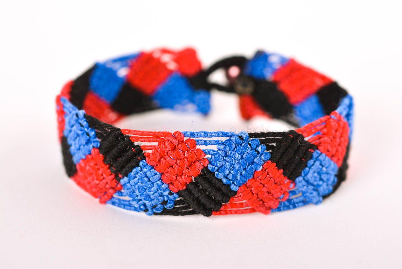 Браслет ручной работы браслет из ниток модный браслет сине красно черный  фото 1