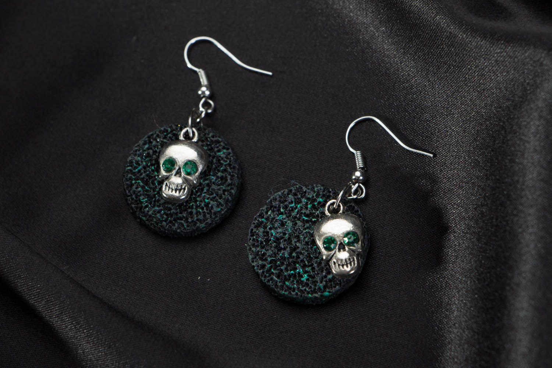 Polymer clay earrings Skulls photo 1