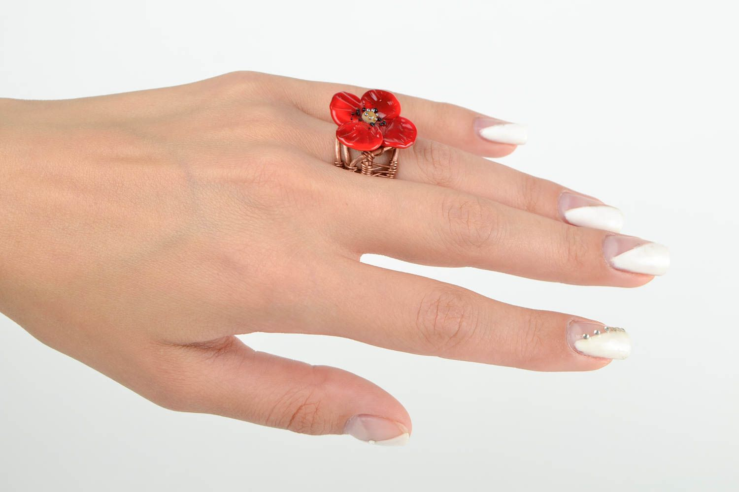 Handmade ring designer accessory gift for her unusual ring with flowers photo 2