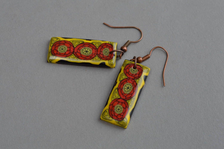Polymer clay earrings handmade designer accessory for girls plastic bijouterie photo 2