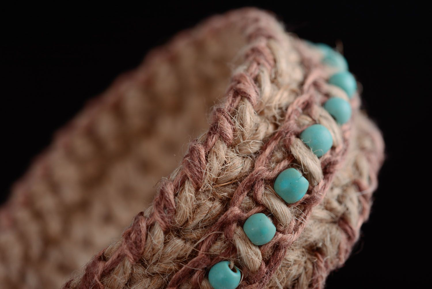 Friendship barcelet woven of jute and linen threads photo 2