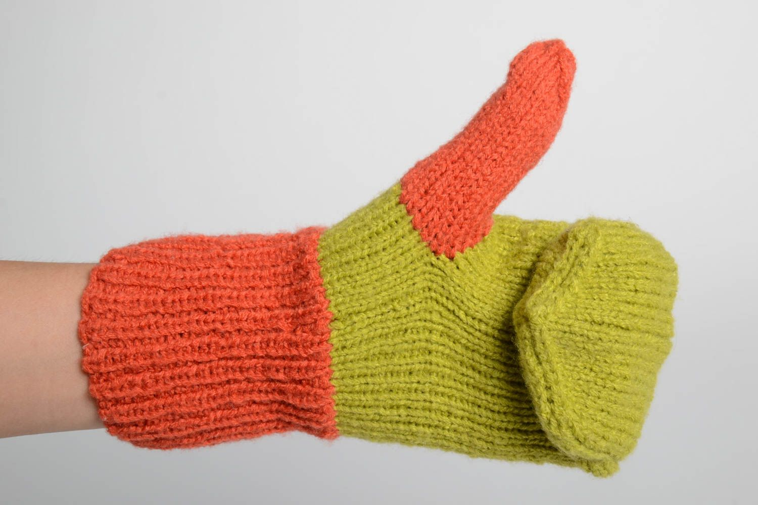 Handmade bright beautiful mittens designer knitted mittens winter clothes photo 1
