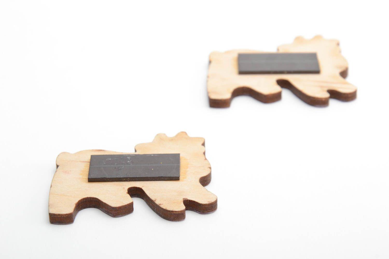 Bright funny children's handmade plywood fridge magnets set 2 pieces  photo 3