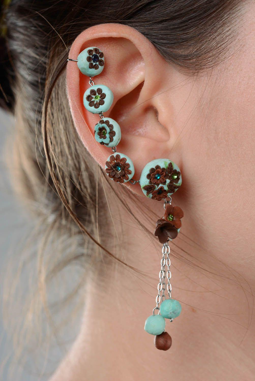 Polymer clay cuff earrings photo 3