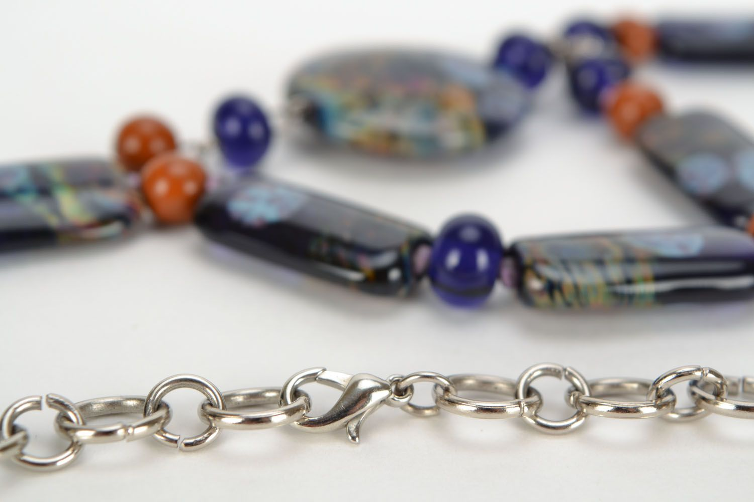 Long lampwork beaded necklace  photo 5