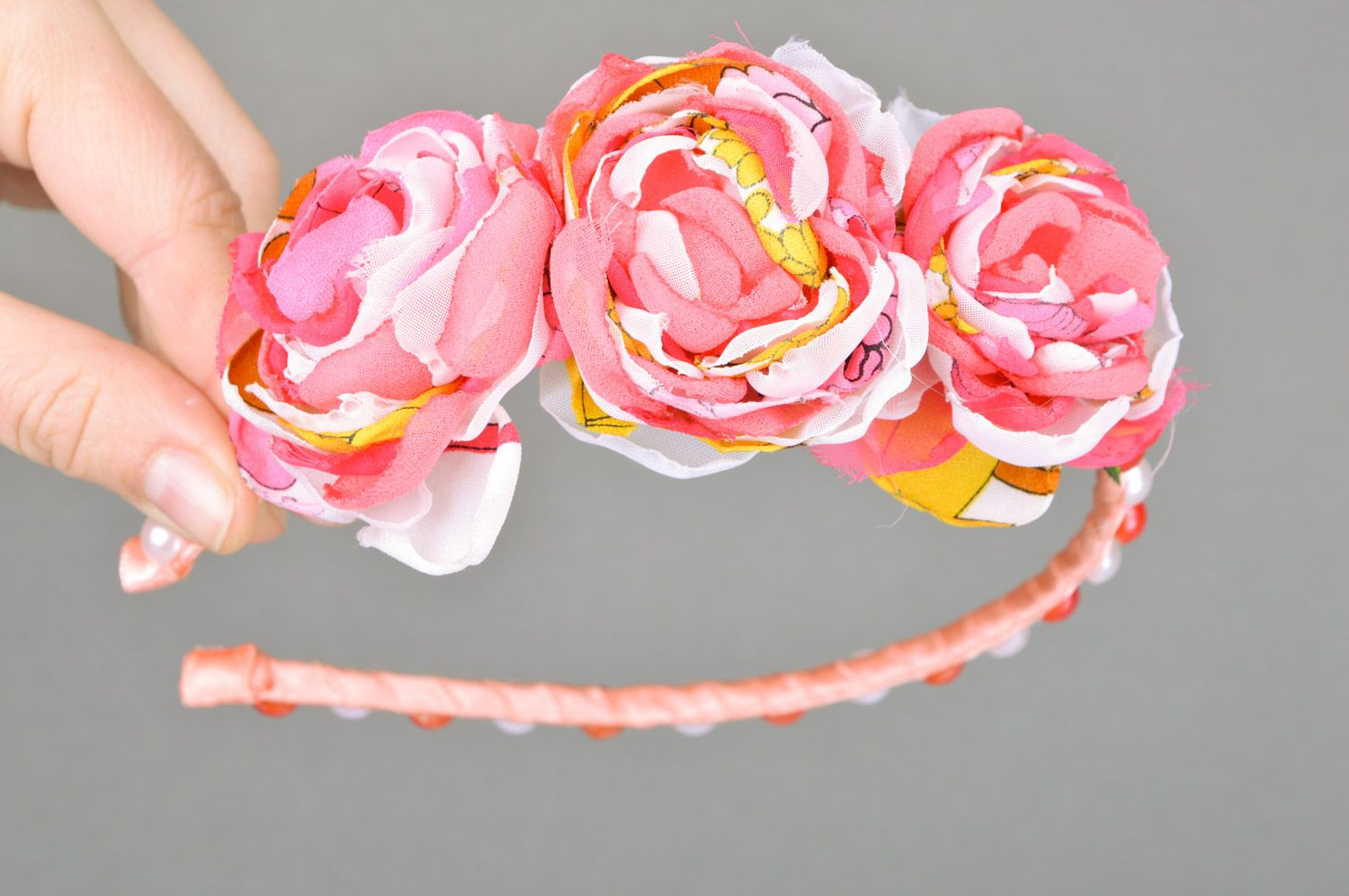 Feminine handmade headband with fabric flowers and beads in pink color palette photo 2