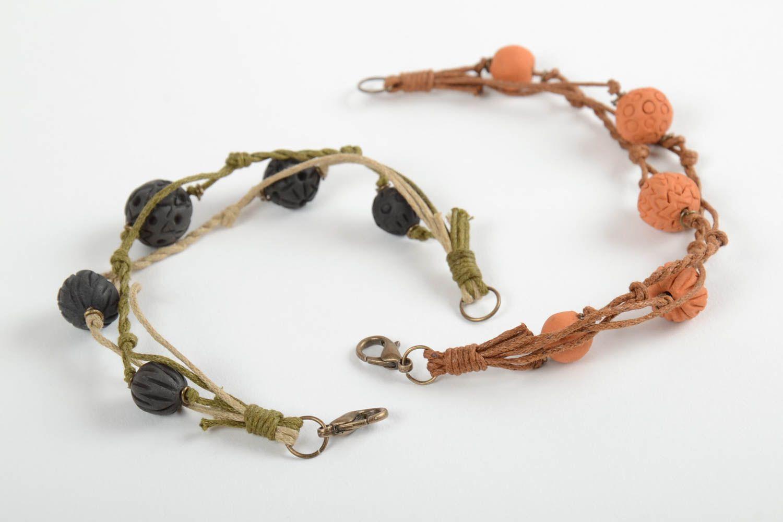 Set of 2 handmade woven bracelets wrist bracelets with clay beads jewelry trends photo 1