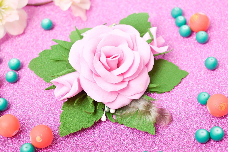 Handmade barrette foamiran hair clip flower hair accessories gift for girl photo 1