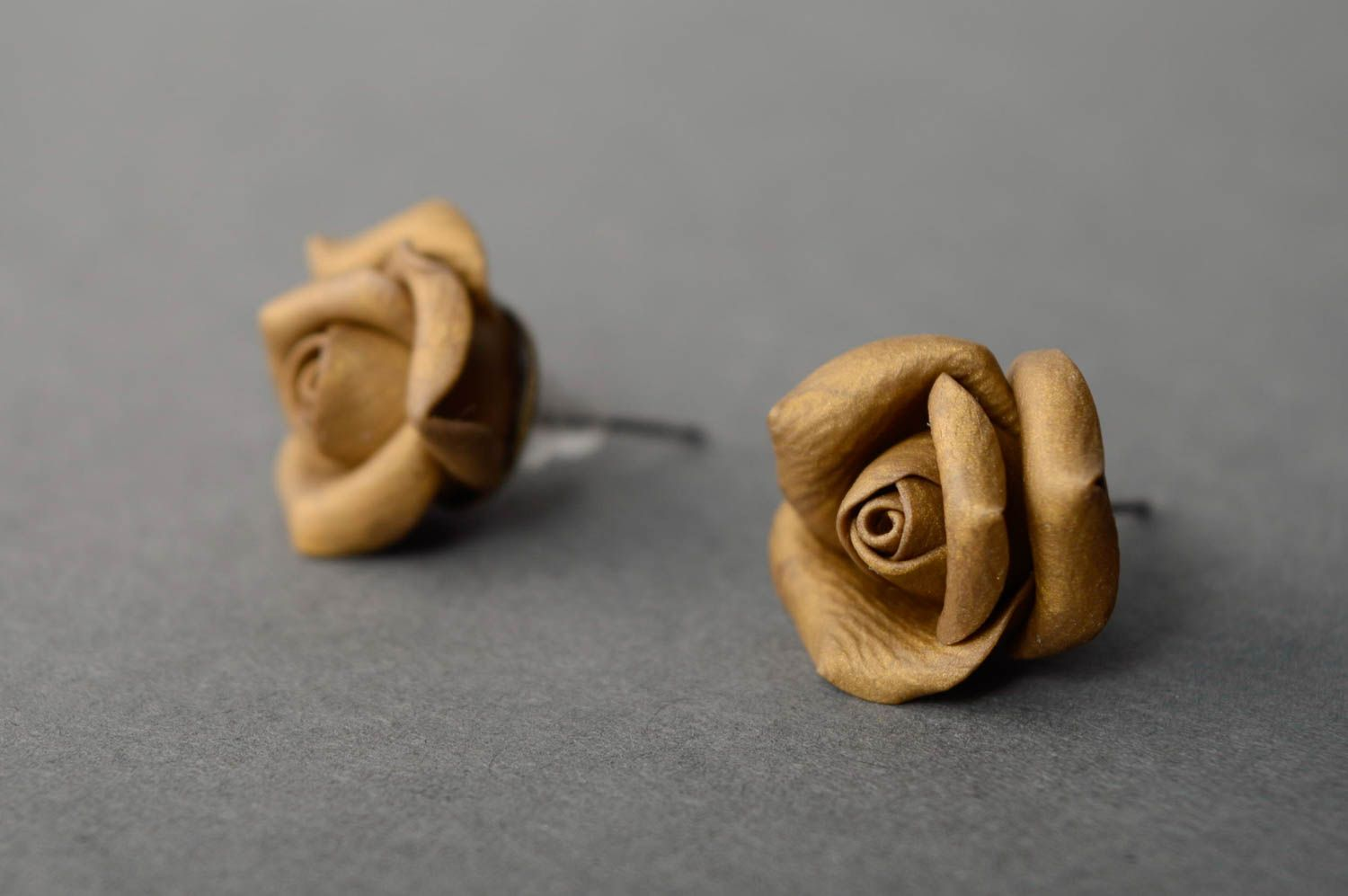 Unusual polymer clay earrings Roses photo 1