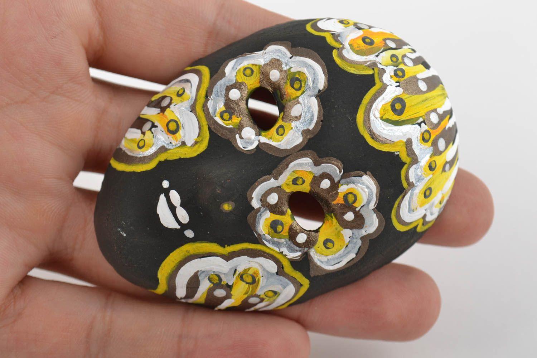Unusual handmade painted fridge magnet in shape of souvenir mask photo 2