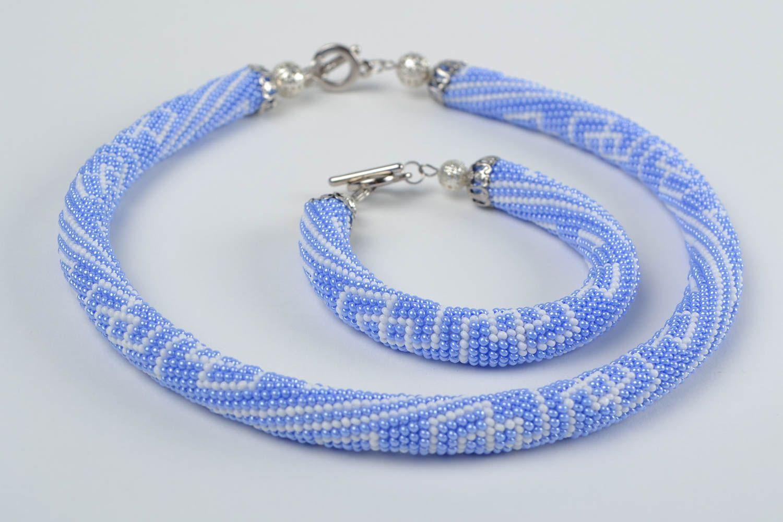 Schmuckset aus Glasperlen Armband und Litze hellblau handmade mit Mustern schön foto 3