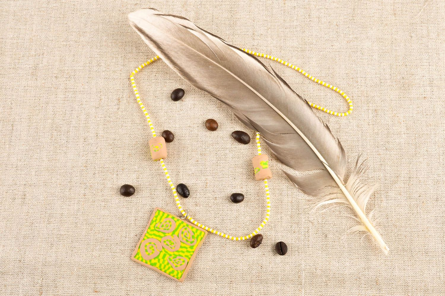 Polymer clay pendant necklace handmade charm necklace gift ideas for women  photo 1