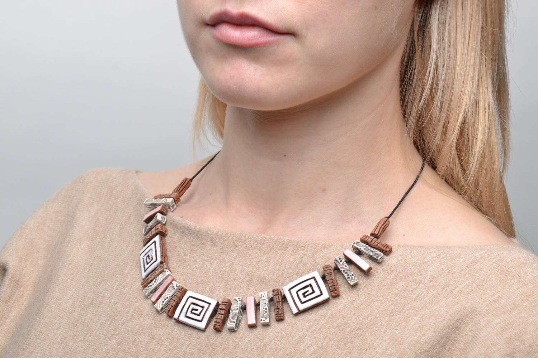 Unusual ceramic bead necklace photo 2