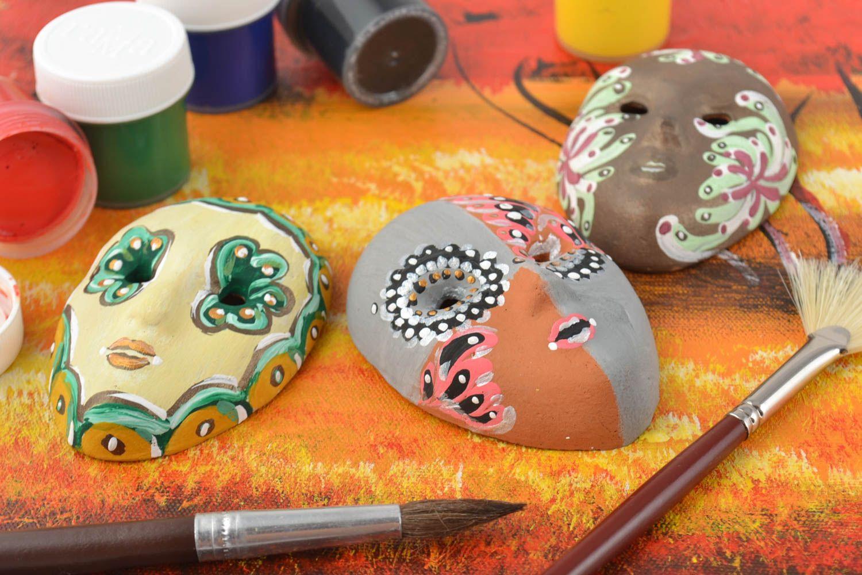 Set of 3 homemade ceramic fridge magnets in the shape of carnival masks photo 1