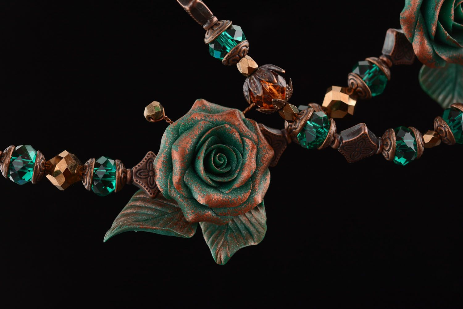 Necklace made of polymer clay Copper Rose photo 3