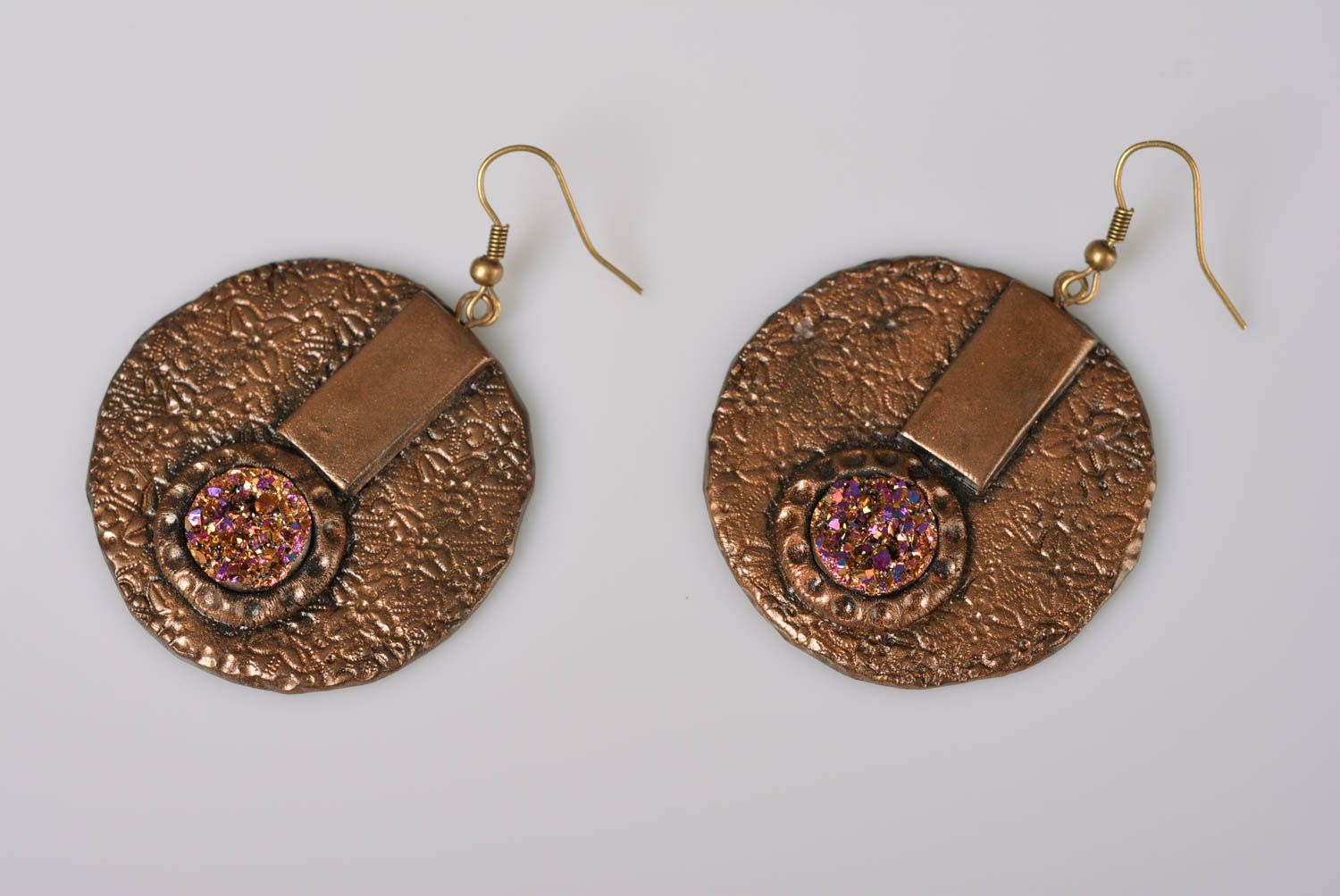 Polymer Clay Earrings Handmade Round Bronze Colored With Stones Styled On Druse