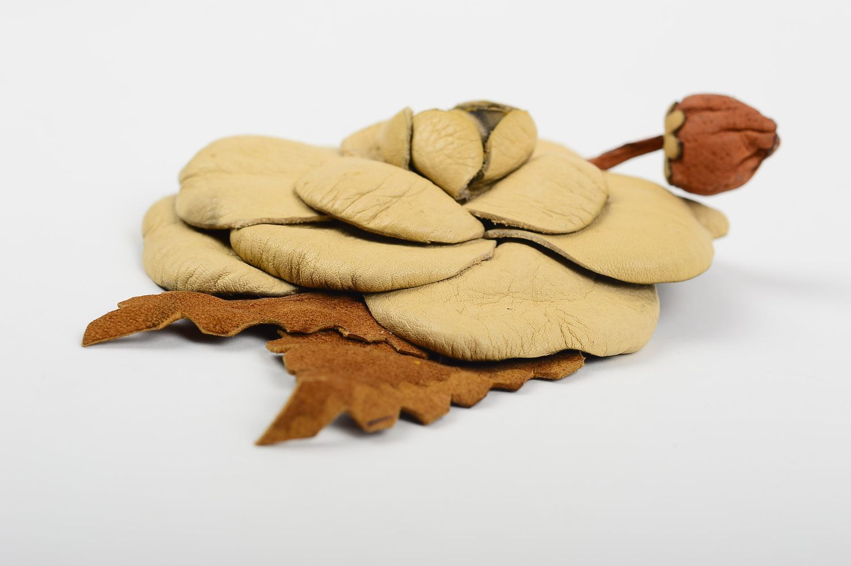 Handmade leather brooch designer flower brooch unusual elegant brooch photo 3