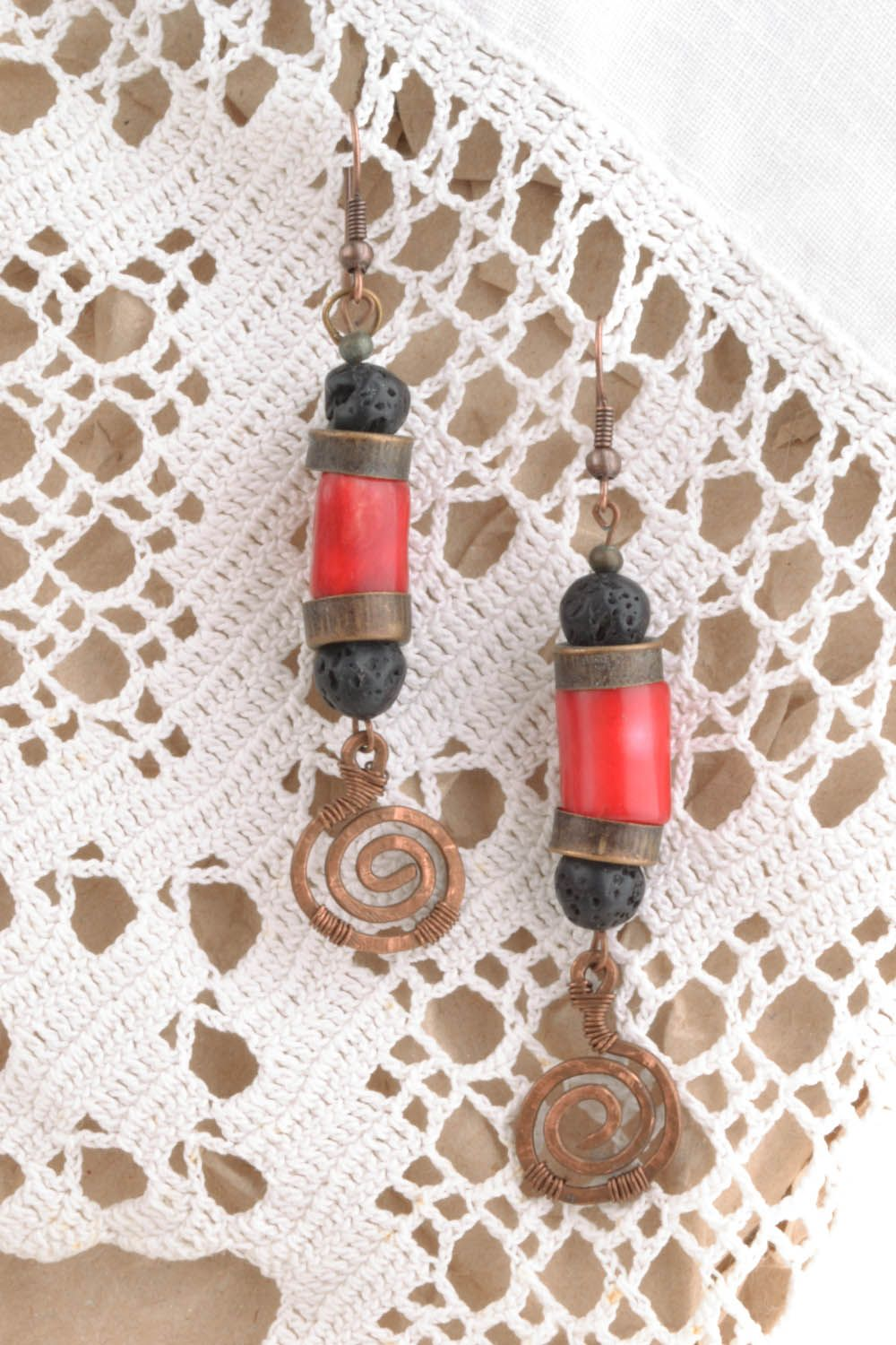 Copper coral earrings Salome photo 5