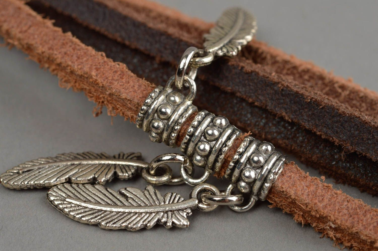 Handmade charm bracelet leather jewelry leather wristband women accessories photo 9