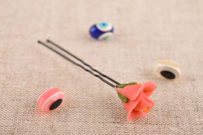 Handmade hair pin designer hair pin unusual accessories hair pin with flower photo 1