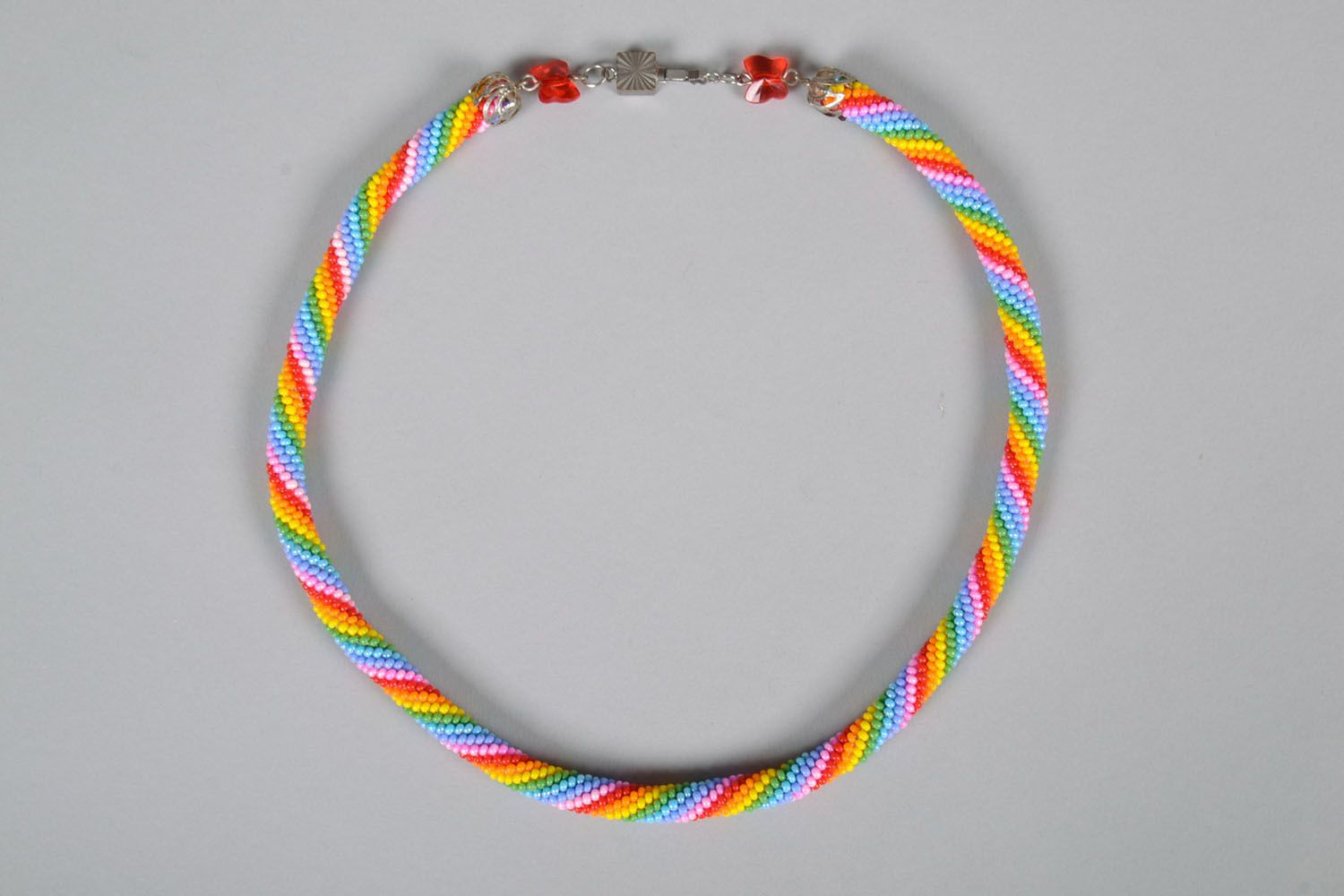 Beaded cord necklace Bright photo 3