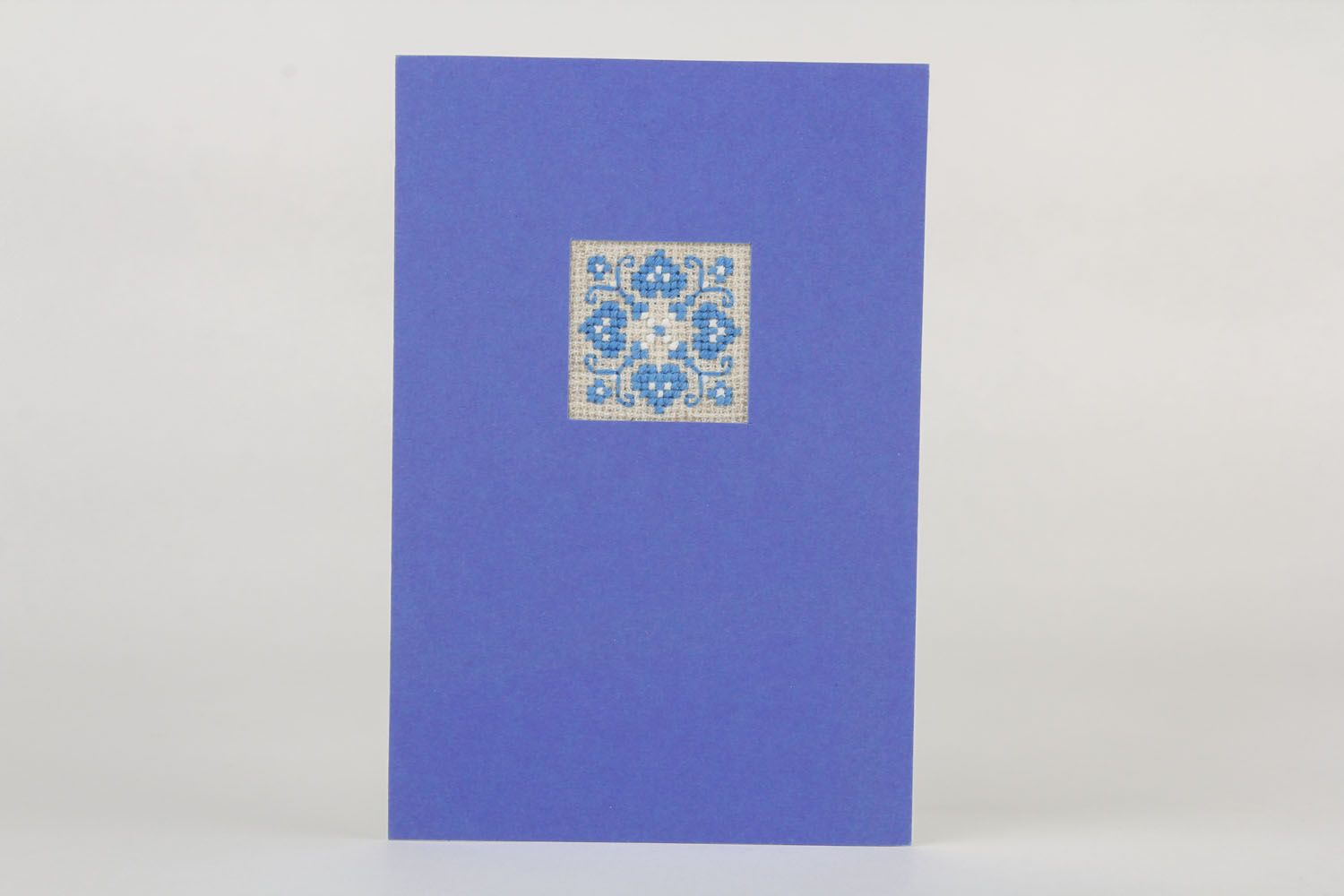 Blue postcard with embroidery  photo 2