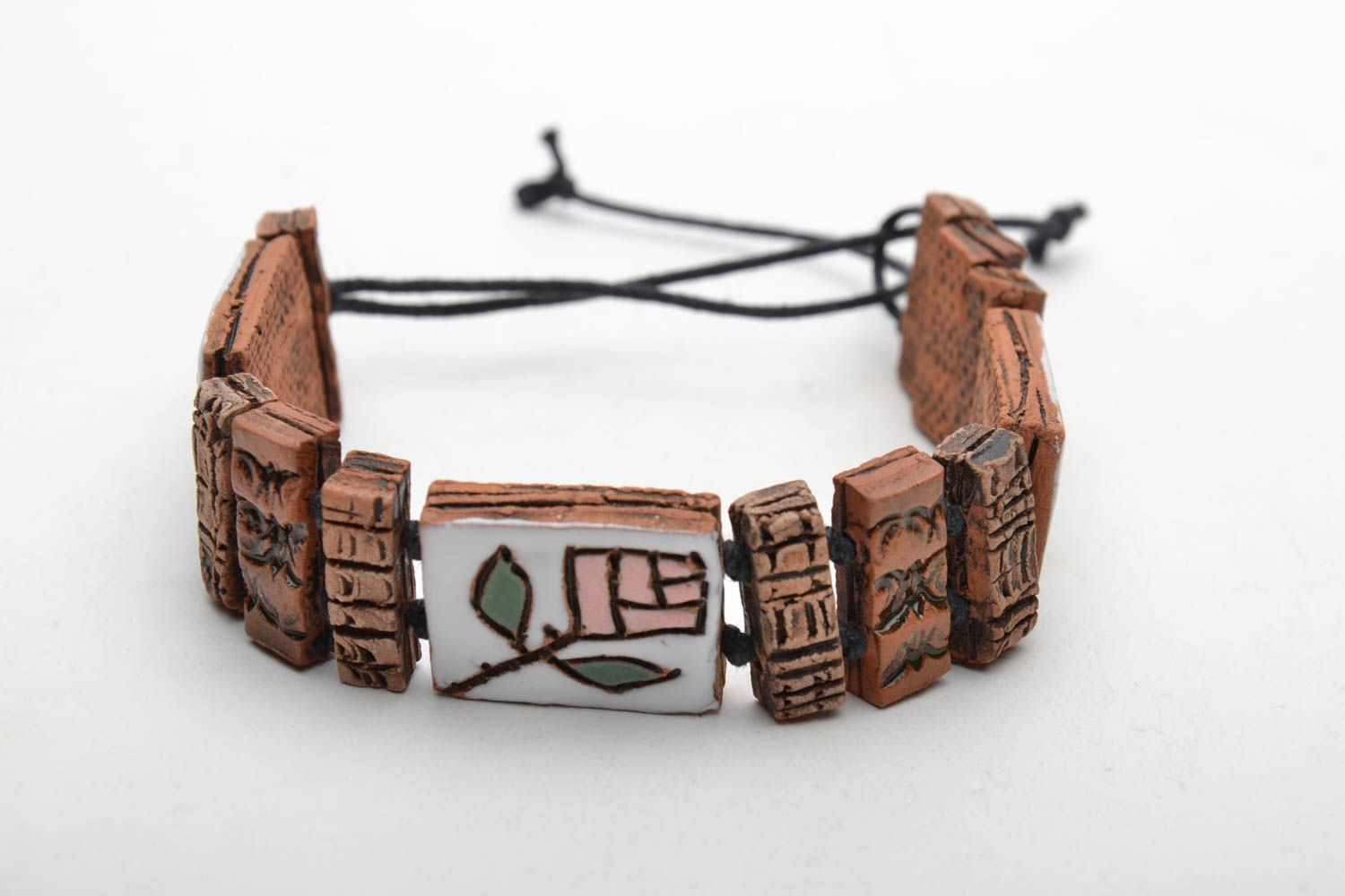 Ceramic wrist bracelet in ethnic style photo 5