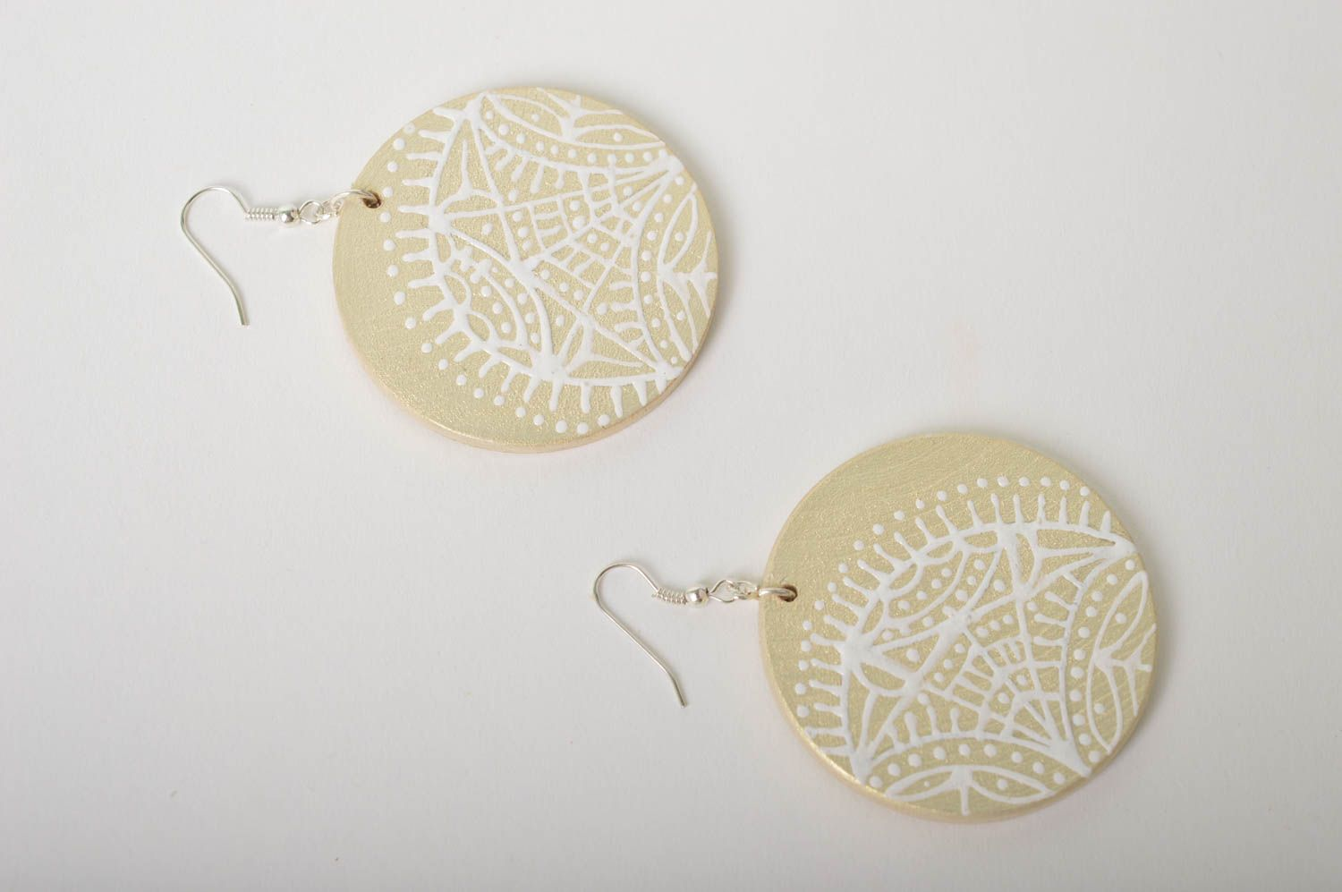 Handmade wooden earrings wooden jewelry round painted earrings women jewelry photo 5