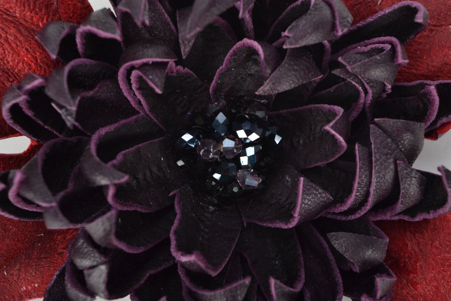 Leather brooch Aster photo 3