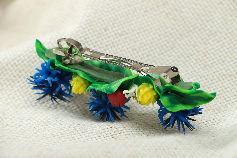 Polymer clay flower hair clip photo 3