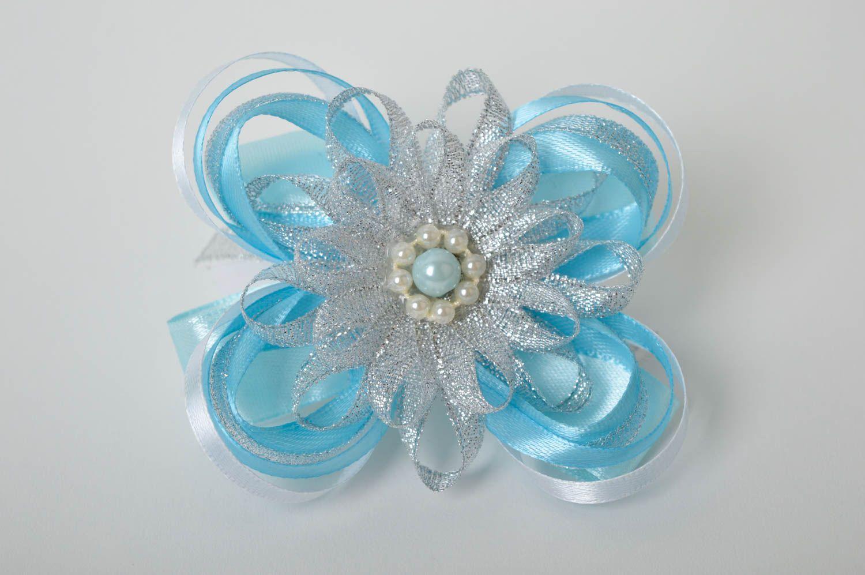 Handmade blue scrunchy stylish satin bow barrette scrunchies for children photo 2