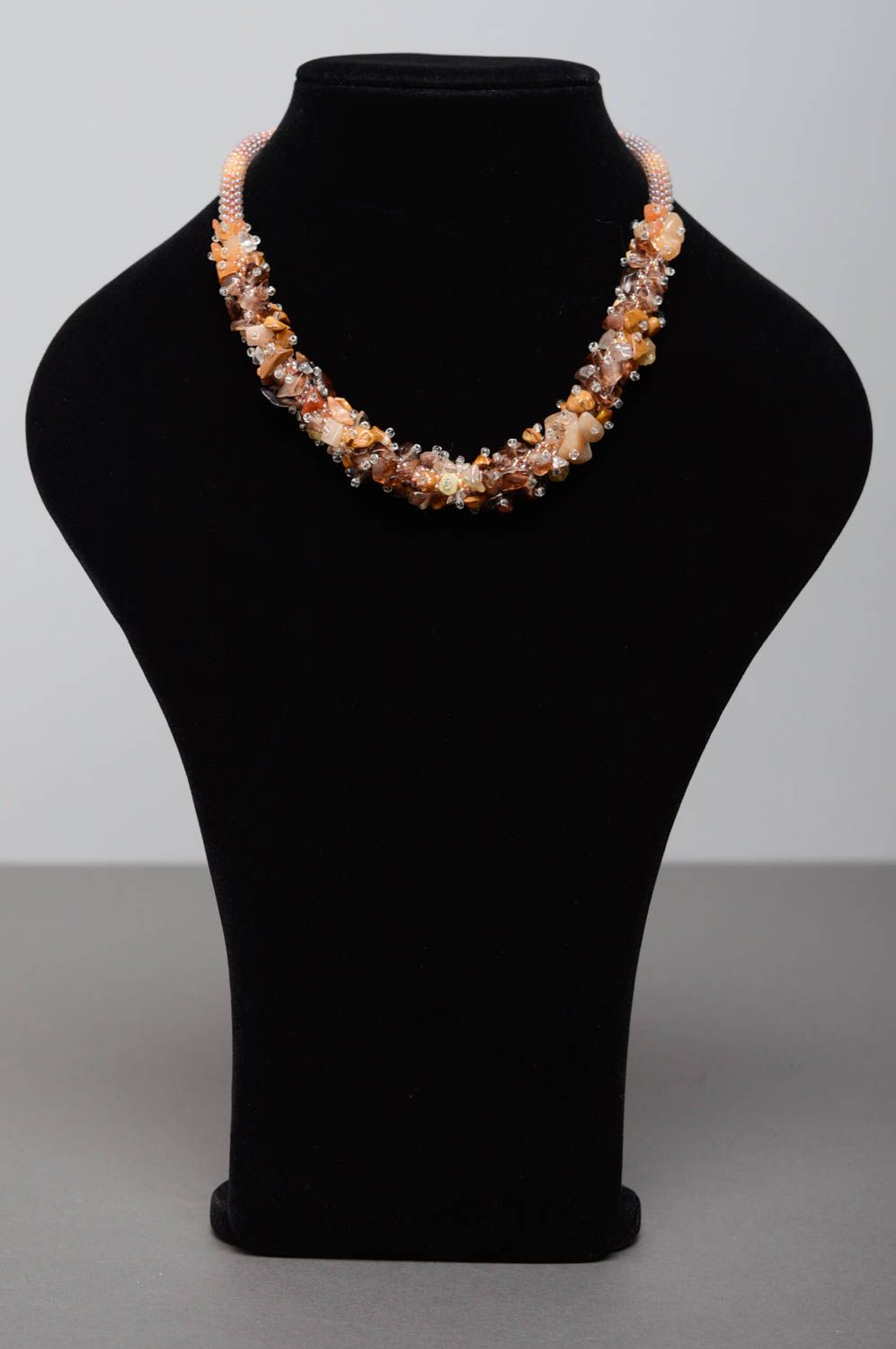 Beaded necklace with natural stones photo 2