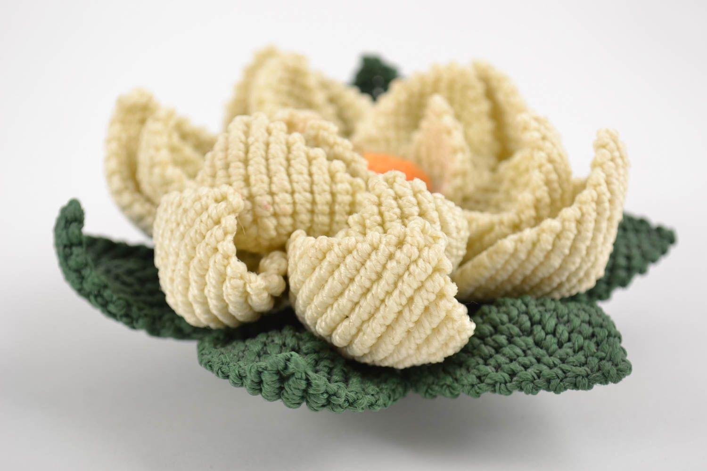 Handmade decorative artificial lotus flower woven using macrame technique photo 4