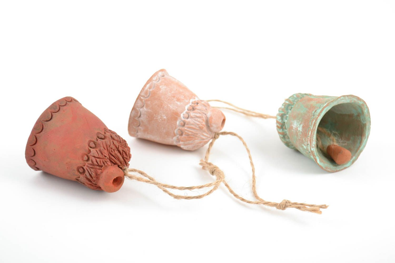 Set of 3 handmade decorative ceramic bells Houses of different colors with cords photo 4