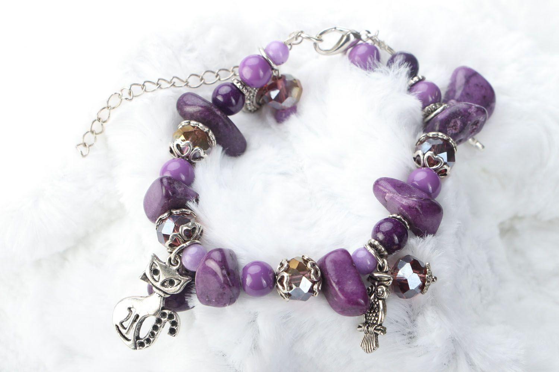 Natural stone bracelet of violet color photo 1