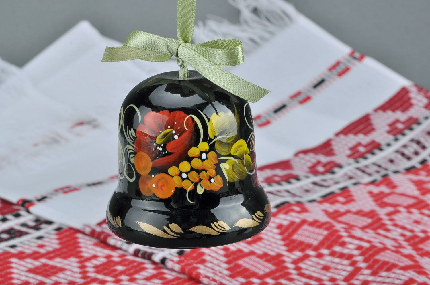 Decorative bell made from wood Poppy blossom photo 5