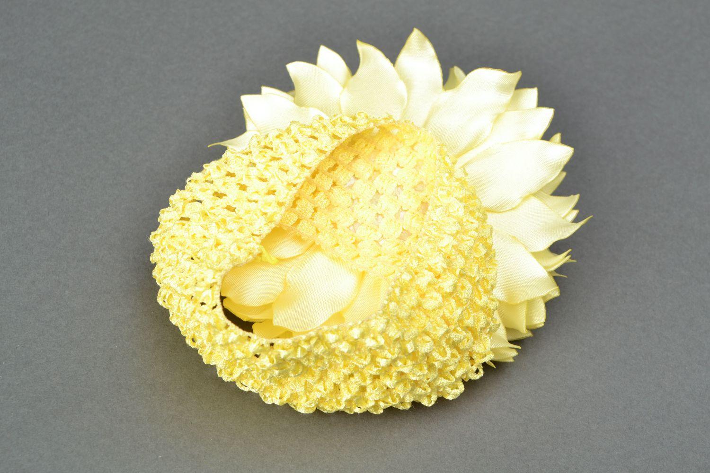 Satin ribbon flower hair strap Dahlia photo 4