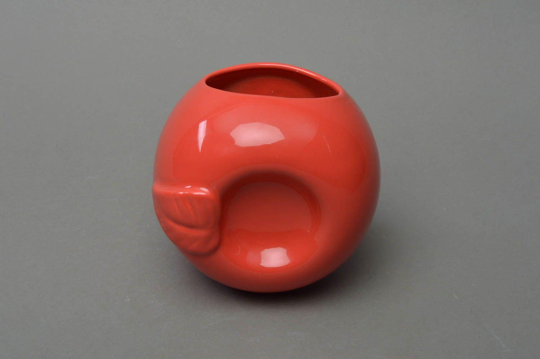 Unusual beautiful cute handmade red porcelain aroma lamp in shape of apple photo 2
