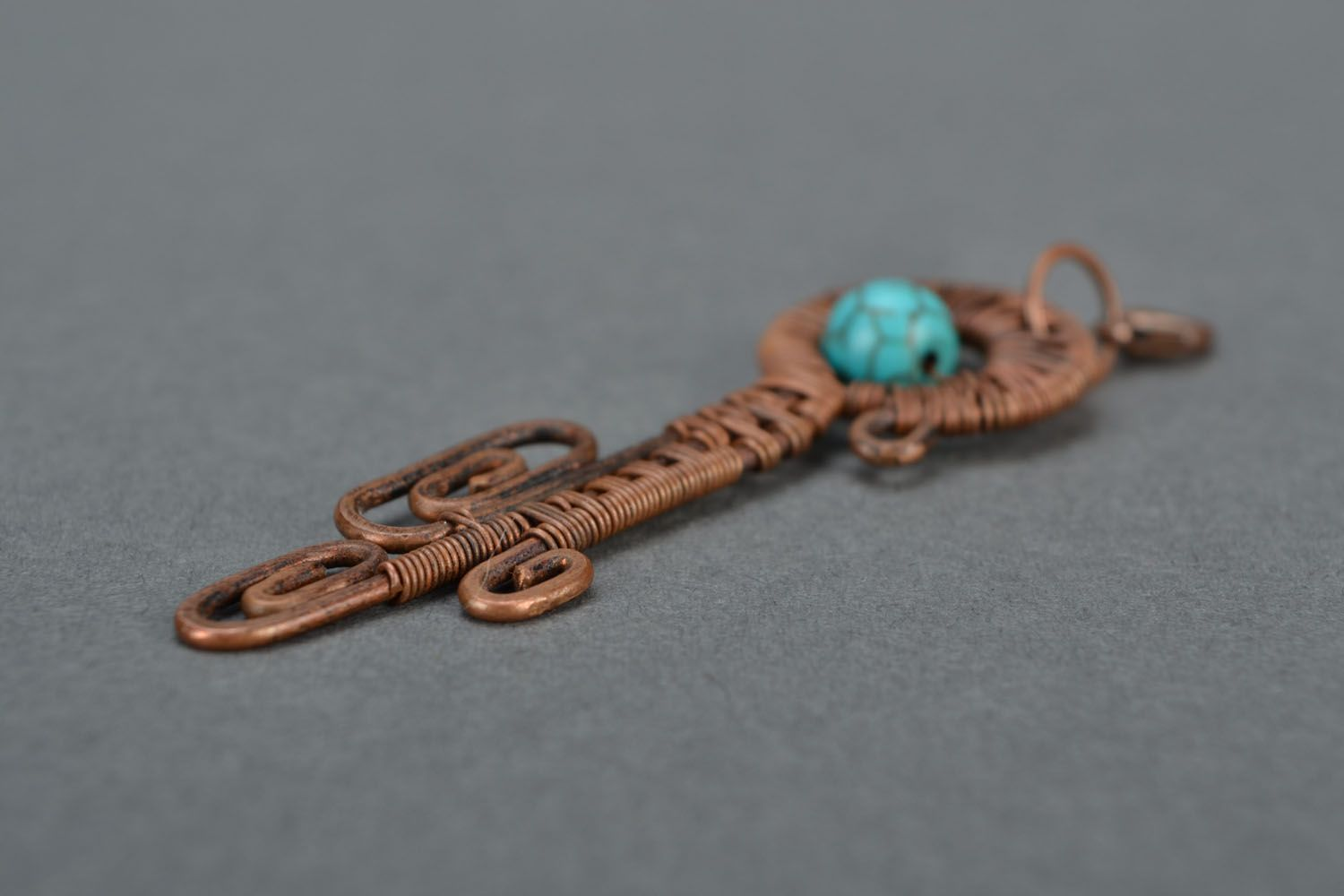 Copper wire pendant with turquoise photo 4