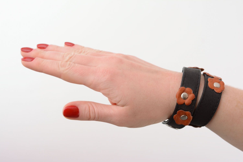 Leather double wrap bracelet photo 1