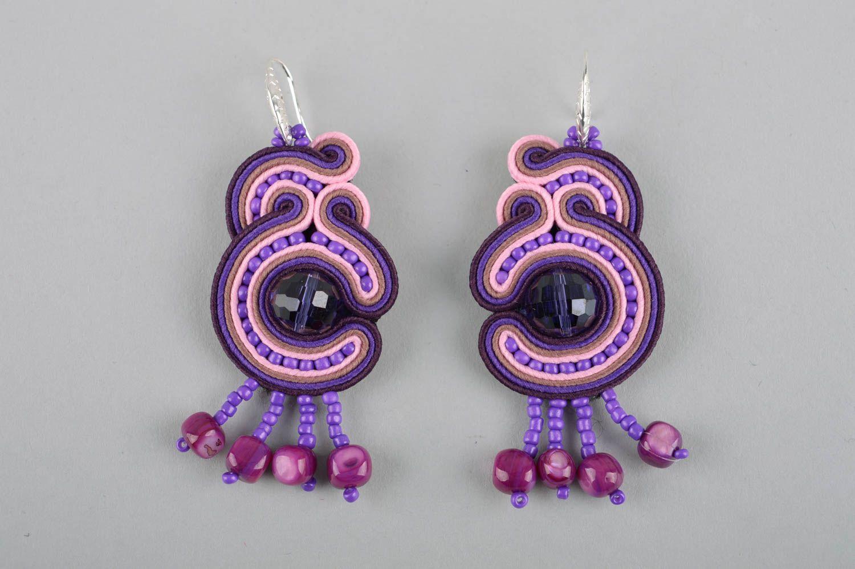 Фиолетовое украшение ручной работы серьги бижутерия большие серьги авторские фото 2